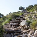 Steps leading up to the switchbacks.- Guadalupe Peak Trail