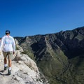The trail gets tight along the cliffs in places. - Guadalupe Peak Trail