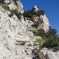 Continuing onward along the cliffside. - Guadalupe Peak Trail