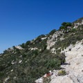 The trail winding its way up the mountain.- Guadalupe Peak Trail