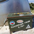Sign in box at the summit.- Guadalupe Peak Trail