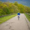 A bicyclist enjoying a spring day.- Ashokan Reservoir Promenade