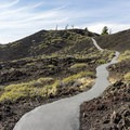 The first part of the North Crater Trail is paved.- North Crater Trail