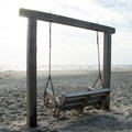 Swinging benches at North Beach.- Tybee North Beach + Lighthouse