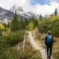 The Tetons come into view as the trail climbs.- Beaver Creek and Taggart Lake Loop Hike