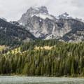South Teton and Grand Teton from Taggart Lake.- Beaver Creek and Taggart Lake Loop Hike