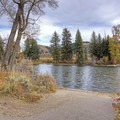 The mighty Snake River and its unusually straight channel at this point.- Menor's Ferry Historic District