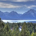 A panoramic view of the Tetons from the Signal Mountain Trail.- Signal Mountain Trail
