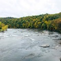 This is a view from the walking bridge in the town of Ohiopyle.- Kentuck Campgrounds