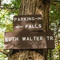 Trail junction a short ways in.- Rainbow Falls