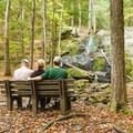 Two benches provide a rest and view of Rainbow Falls.- Rainbow Falls