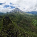 Aerial view of Arenal volcano from the trail.- Sendero Arenal 1968 Trail