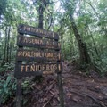 Signs at the junction to the waterfalls.- Rio Celeste