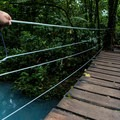 One of the small hanging bridges that crosses the river.- Rio Celeste