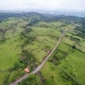 Aerial view of the road leading up to the park.- Rio Celeste