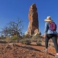 Approaching the towering stone obelisk.- Dark Angel Hike