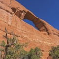 Looking up at Skyline Arch from below- Skyline Arch Trail