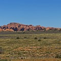 Panoramic views looking east toward Willow Flats, the Windows Section, and the La Sal Mountains.- Willow Springs Road