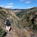 At the turn off for Osprey Falls, begin the switchbacks down into Sheepeater Canyon.- Osprey Falls
