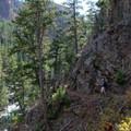 Walk around the base of rocky cliffs above the Gardner River.- Osprey Falls