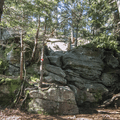 Rock faces on the ridge between the summits.- Wittenberg + Cornell Mountains