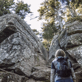 Ascending rock faces to the Cornell summit.- Wittenberg + Cornell Mountains