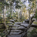 A rock staircase approaching the summit.- Slide, Cornell + Wittenberg Mountains