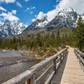 Great view of Grand Teton from the bridge.- String Lake Loop