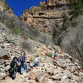The trail is steep and rocky from the start.- Hanging Lake