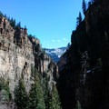 View of the canyon from the lake.- Hanging Lake