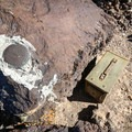Towne Peak geological survey marker and cache box.- Towne Peak + Plane Wreck Site