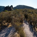 The climber approach to the Carousel, Pinnacles National Park.- Climbing West of the Reservoir