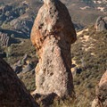 The Unmentionable, rising enthusiastically from a hillside in Pinnacles National Park.- Climbing West of the Reservoir