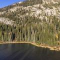 Sotcher Lake from the granite knoll.- Sotcher Lake