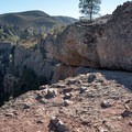 The belay ledges on Discovery Wall, Pinnacles National Park.- Discovery Wall