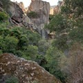 The Monolith in Pinnacles National Park, viewed from the Moses Spring Trail in Bear Gulch.- The Monolith