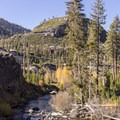 Middle Fork of the San Joaquin River from above the falls.- Rainbow Falls Upper and Lower