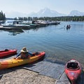 Heading out after renting a tandem kayak just a few feet from the water.- Jackson Lake via Colter Bay Marina