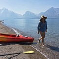 Taking a break along the shore before the Tetons.- Jackson Lake via Colter Bay Marina
