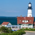 The Portland Light and keeper's house from Battery Blair.- Portland Head Lighthouse