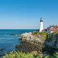 Looking south to the Portland Head Light from a viewpoint.- Portland Head Lighthouse