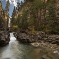 Mystic Falls from the creek at the bottom of the canyon.- Mystic Falls
