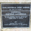 National Historic Landmark plaque at the visitor center.- Cape Hatteras Lighthouse