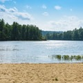 Beach for campground guests.- Bear Brook State Park Campground