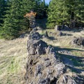 Basalt dike and a small cave along Horse Rock Ridge.- Horse Rock Ridge