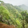 The trail hugs a narrow drop off.- Mount Olympus / Awāwaloa