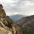 Sierra Nevada afternoon thunderstorms descend on the Obelisk.- The Obelisk