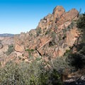 Looking north toward the namesake tunnel on Tunnel Trail, Pinnacles National Park.- Tunnel Trail