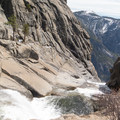 The top of Yosemite Falls from the Upper Yosemite Falls Trail.- North Dome via Yosemite Falls