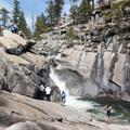 A potentially treacherous play area at the top of Yosemite Falls from the Upper Yosemite Falls Trail.- North Dome via Yosemite Falls